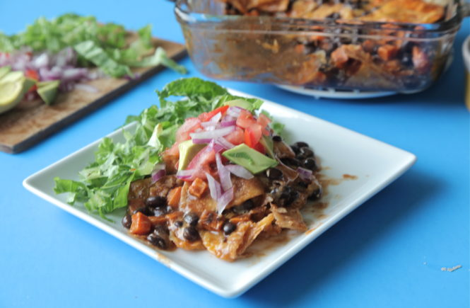 Sweet Potato and Black Bean Chilaquiles (Gluten Free)