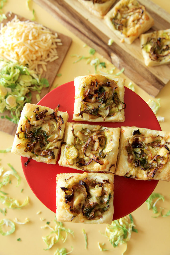 Vegetarian Brussels Sprout & Caramalized Onion Puff Pastry Appetizer